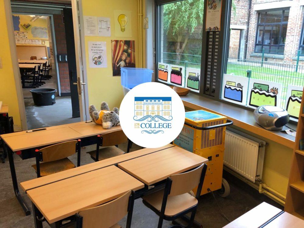 Bouwdroger in klaslokaal